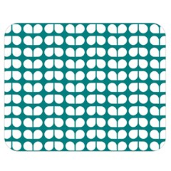 Teal And White Leaf Pattern Double Sided Flano Blanket (Medium)