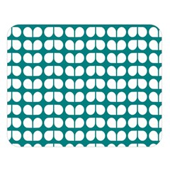 Teal And White Leaf Pattern Double Sided Flano Blanket (Large)