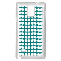 Teal And White Leaf Pattern Samsung Galaxy Note 4 Case (White)