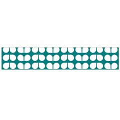 Teal And White Leaf Pattern Flano Scarf (large)