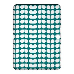 Teal And White Leaf Pattern Samsung Galaxy Tab 4 (10.1 ) Hardshell Case