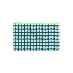 Teal And White Leaf Pattern Cosmetic Bag (XS)