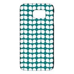 Teal And White Leaf Pattern Galaxy S6