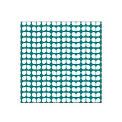 Teal And White Leaf Pattern Satin Bandana Scarf