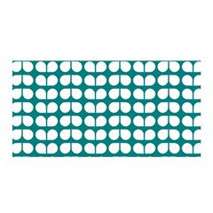 Teal And White Leaf Pattern Satin Wrap