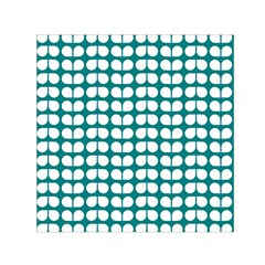 Teal And White Leaf Pattern Small Satin Scarf (Square)
