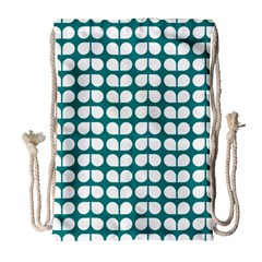 Teal And White Leaf Pattern Drawstring Bag (large)