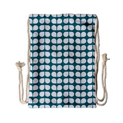 Teal And White Leaf Pattern Drawstring Bag (Small)