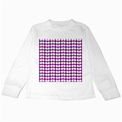 Purple And White Leaf Pattern Kids Long Sleeve T-Shirts