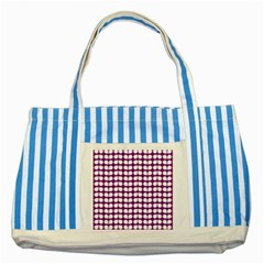 Purple And White Leaf Pattern Striped Blue Tote Bag