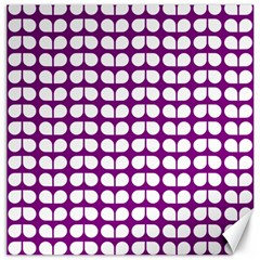 Purple And White Leaf Pattern Canvas 20  X 20