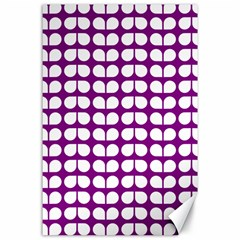 Purple And White Leaf Pattern Canvas 24  X 36