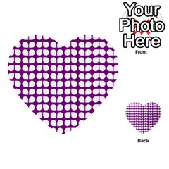 Purple And White Leaf Pattern Multi Purpose Cards (heart)