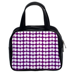 Purple And White Leaf Pattern Classic Handbags (2 Sides)