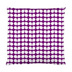 Purple And White Leaf Pattern Standard Cushion Cases (two Sides)