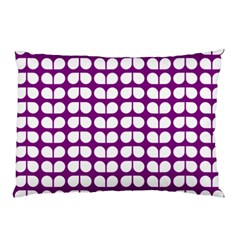 Purple And White Leaf Pattern Pillow Cases