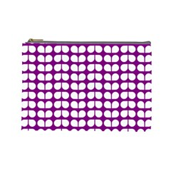 Purple And White Leaf Pattern Cosmetic Bag (large)