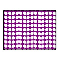Purple And White Leaf Pattern Fleece Blanket (Small)