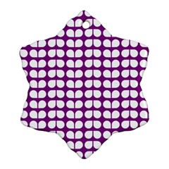 Purple And White Leaf Pattern Snowflake Ornament (2-Side)
