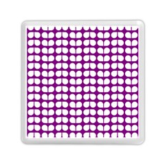 Purple And White Leaf Pattern Memory Card Reader (Square)