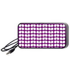Purple And White Leaf Pattern Portable Speaker (black)
