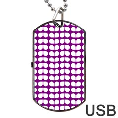 Purple And White Leaf Pattern Dog Tag Usb Flash (one Side)