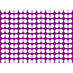 Purple And White Leaf Pattern Birthday Cake 3D Greeting Card (7x5)