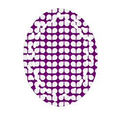 Purple And White Leaf Pattern Oval Filigree Ornament (2 Side)