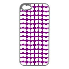 Purple And White Leaf Pattern Apple Iphone 5 Case (silver)