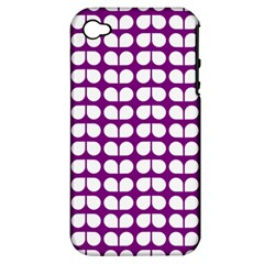Purple And White Leaf Pattern Apple Iphone 4/4s Hardshell Case (pc+silicone)