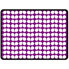 Purple And White Leaf Pattern Double Sided Fleece Blanket (large)
