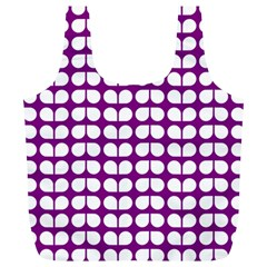 Purple And White Leaf Pattern Full Print Recycle Bags (l)