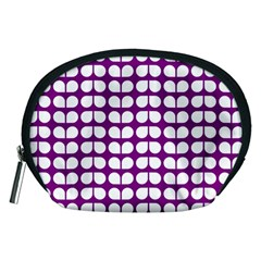 Purple And White Leaf Pattern Accessory Pouches (Medium)