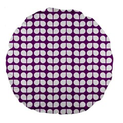 Purple And White Leaf Pattern Large 18  Premium Flano Round Cushions