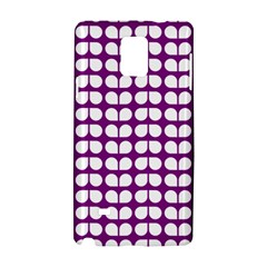 Purple And White Leaf Pattern Samsung Galaxy Note 4 Hardshell Case