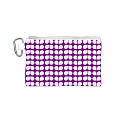 Purple And White Leaf Pattern Canvas Cosmetic Bag (S)