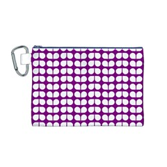 Purple And White Leaf Pattern Canvas Cosmetic Bag (M)