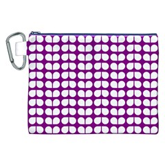 Purple And White Leaf Pattern Canvas Cosmetic Bag (XXL)