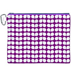 Purple And White Leaf Pattern Canvas Cosmetic Bag (XXXL)