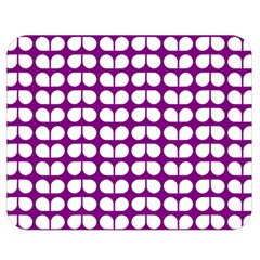 Purple And White Leaf Pattern Double Sided Flano Blanket (medium)
