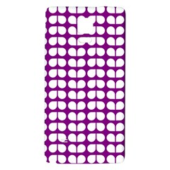 Purple And White Leaf Pattern Galaxy Note 4 Back Case