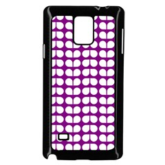 Purple And White Leaf Pattern Samsung Galaxy Note 4 Case (Black)