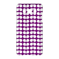 Purple And White Leaf Pattern Samsung Galaxy A5 Hardshell Case