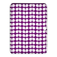 Purple And White Leaf Pattern Samsung Galaxy Tab 4 (10.1 ) Hardshell Case