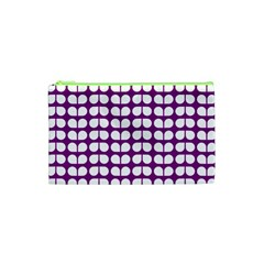 Purple And White Leaf Pattern Cosmetic Bag (xs)