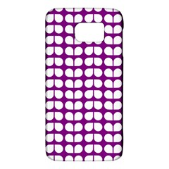 Purple And White Leaf Pattern Galaxy S6