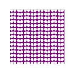 Purple And White Leaf Pattern Small Satin Scarf (square)