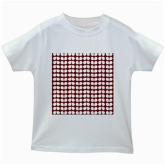 Red And White Leaf Pattern Kids White T-Shirts