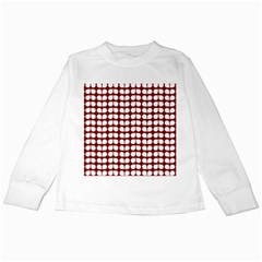 Red And White Leaf Pattern Kids Long Sleeve T Shirts