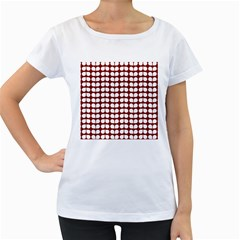 Red And White Leaf Pattern Women s Loose Fit T Shirt (white)